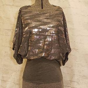 Body Central Sequin Top Dolman Sleeves Medium